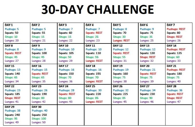 30 Day Squat Challenge Calendar | 30-Day Challenge #1 ...