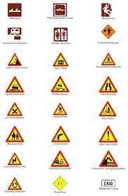 Värien käyttö ja symboliikka - liikennemerkit - varoitukset (taustaa).
