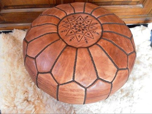 LEATHER FOOTSTOOL ( pouf ) Natural bs | pouf-and-rug - Housewares on ArtFire