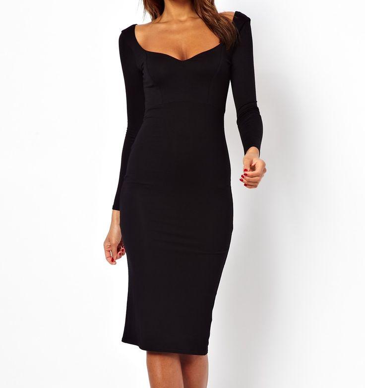 Dámske oblečenie | Dámske šaty | Asos Sweetheart Bodycon Midi šaty čierne | www.nells.sk - Parfumy, kozmetika a oblečenie svetových značiek.
