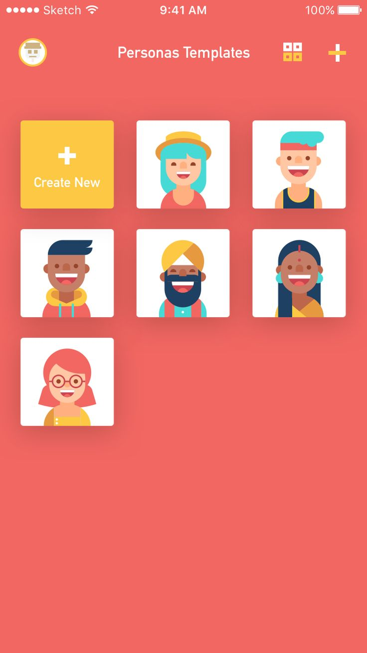 All personas grid view