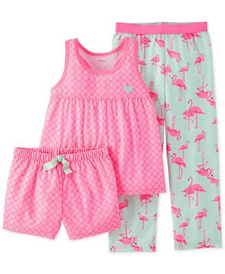 Carter's Little Girls' 3-Piece Floral Flamingo Pajamas