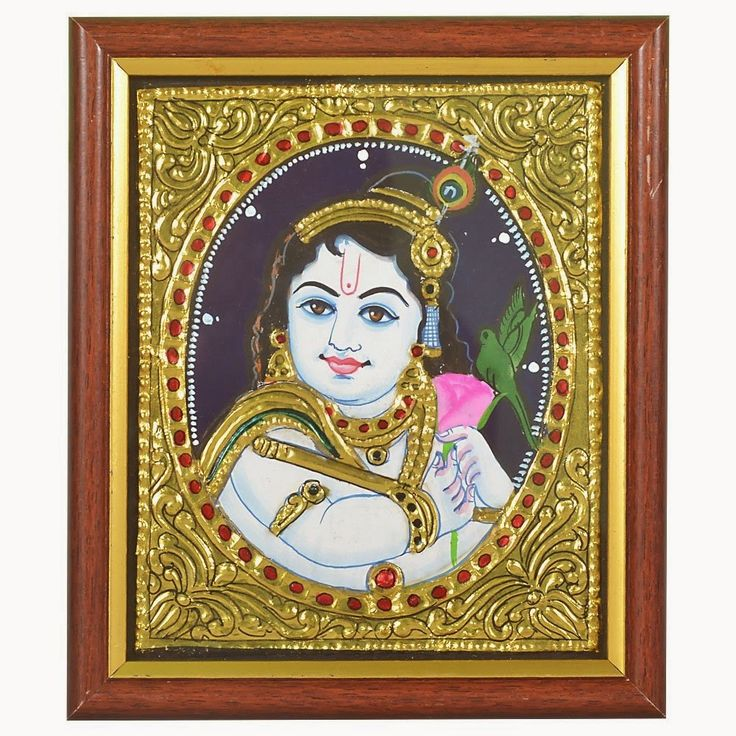 Diwali Gifts for father & father in law who loves Art &  Painting:Tanjore Painting Krishna by Mamathas Art