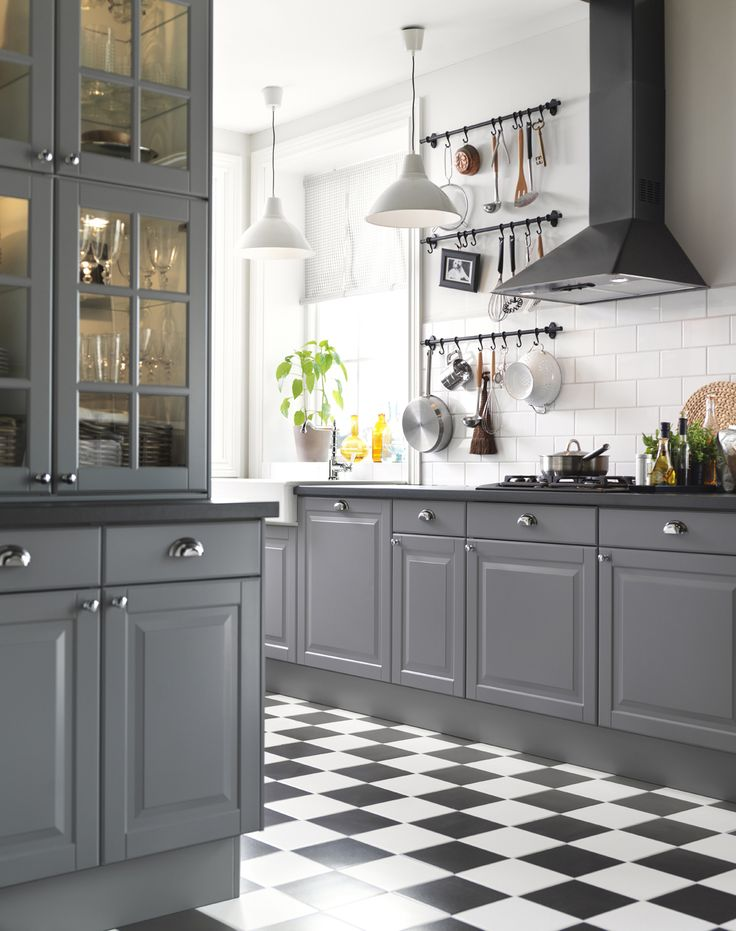 Ikea sterreich inspiration k che front liding griff for Dark gray kitchen cabinets
