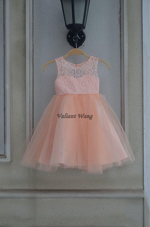 Lovely Peach/Orange Lace Flower Girl Dress Wedding Baby Girls Dress Tulle Rustic Baby Birthday Dress Knee Length