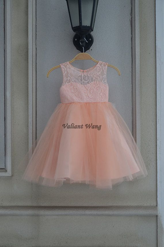 Lovely Peach/Orange Lace Flower Girl Dress Wedding Baby Girls Dress Tulle Rustic Baby Birthday Dress Knee Length