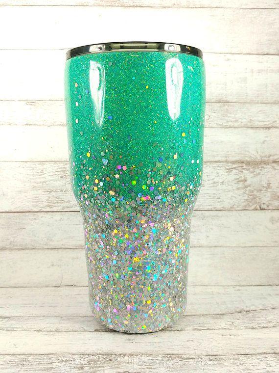 59136a27ff8 Custom Glitter Tumbler // Glitter Yeti // Personalized Ombre Tumbler ...