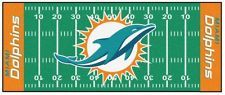 New Fanmats NFL Miami Dolphins Logo 30 x 72 Inch Football Field Area Rug Decor