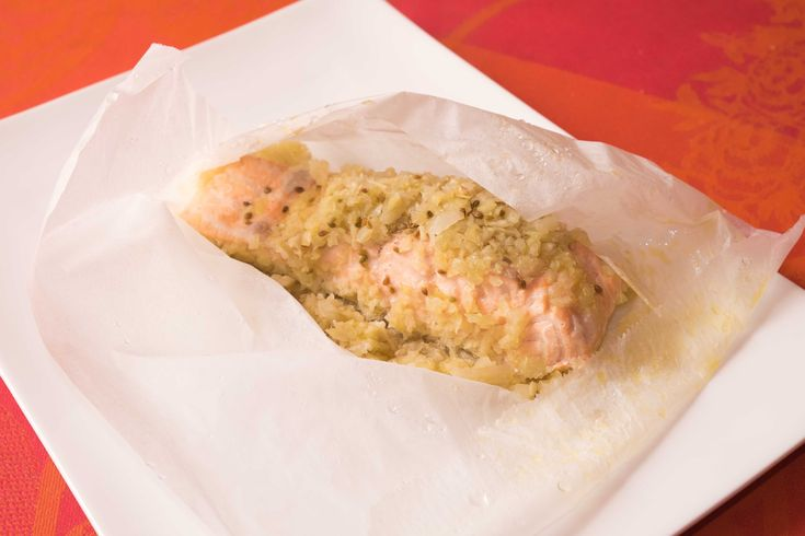 Papillote de saumon vapeur au fenouil et riz