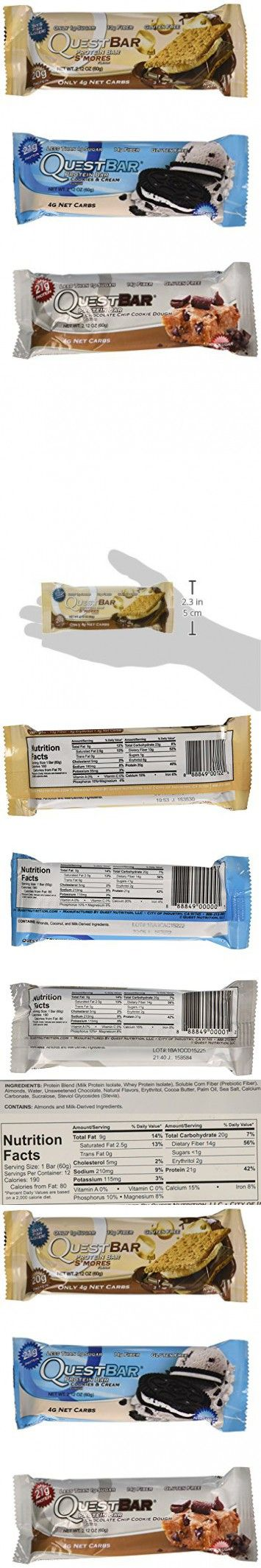 Quest Nutrition Protein Bar Variety Pack, Including S'mores, Cookies & Cream & Chocolate Chip Cookie Dough, Pack of 12, 4 of Each