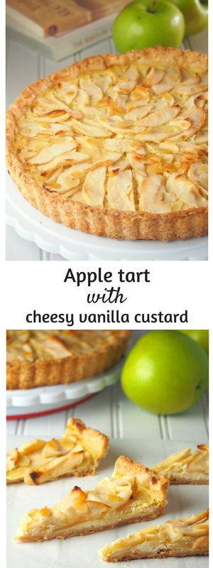 Apple tart made with tender crisp apple slices on a bed of creamy and cheesy  vanilla custard.