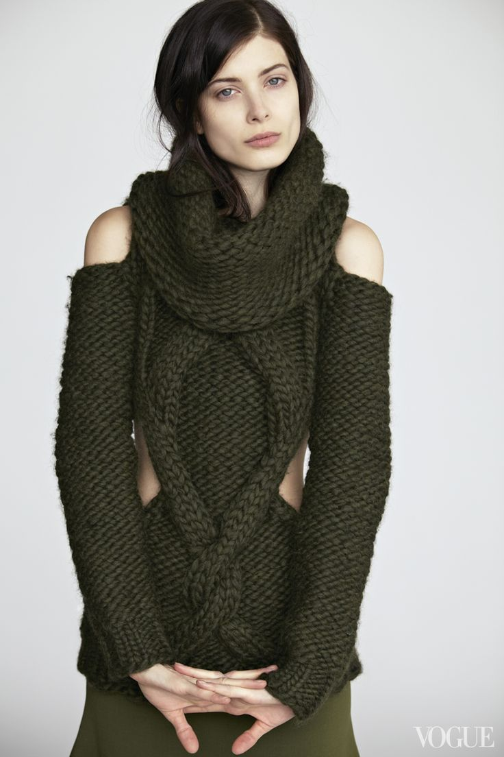Hand-knit, with cutouts and a detachable cowl: Yes, a sweater can be a statement piece.Larissa Hofmann wearing a Prabal Gurung Loden Green handknit wool cutout sweater with detachable cowl, $2,395Barneys New York, NYC, 212.826.8900