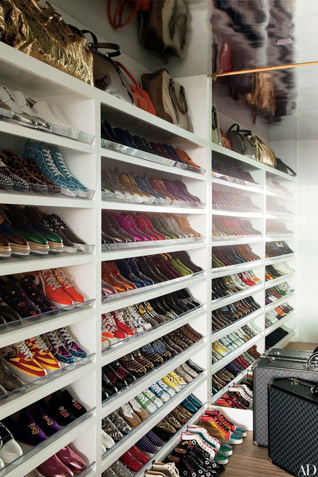Colorful sneakers line the shoe closet of Elton John and David Furnish's Los Angeles home.