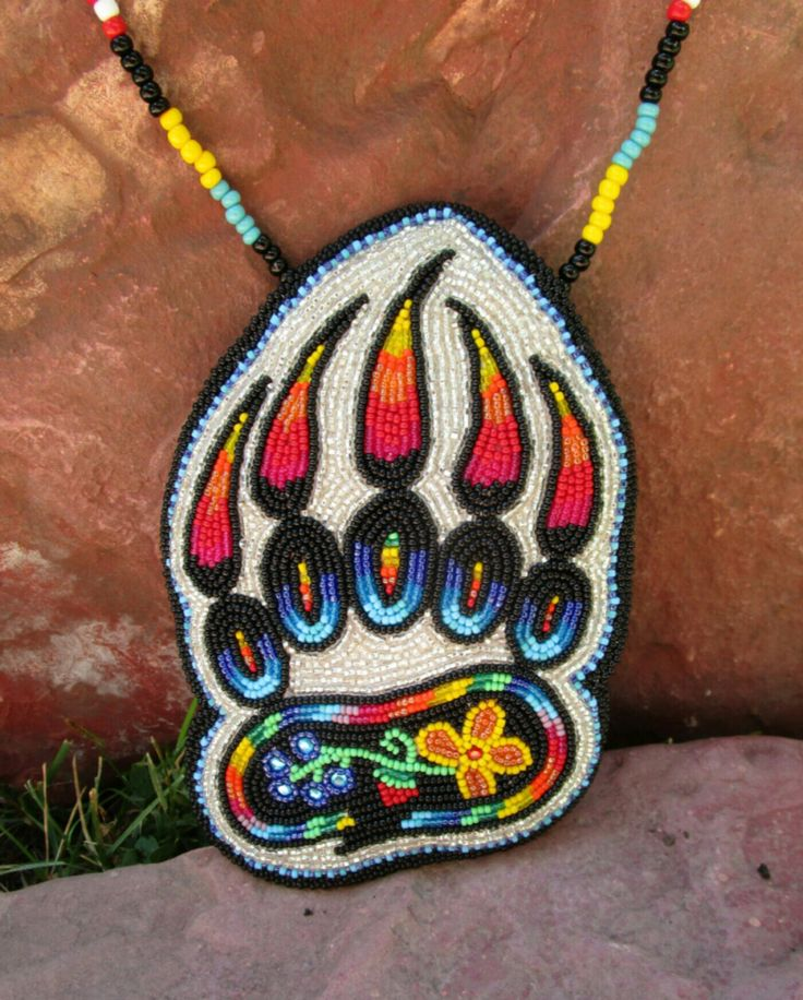 Native American beadwork medallion-Bear Medicine-osha root by ThunderKin on Etsy