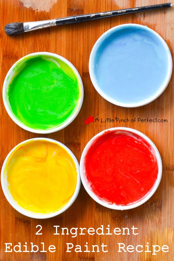 2 Ingredient Edible Paint Recipe- kids can turn food into art or let your little toddler or baby became an artist with this taste-safe paint recipe