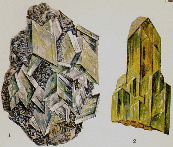 Baryte Anglesite Celestite Crystal Stone Mineral Vintage Lithograph Edwardian Geology Print To Frame. $21.89, via Etsy.