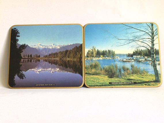 Vintage New Zealand Scenic Place Mat Set  70s Taupo by FunkyKoala