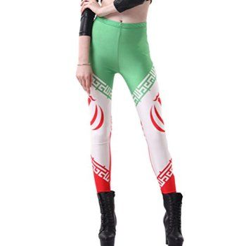 Skinny Yoga Fitness Women Flag of Iran World Cup Pants Jeggings Tights