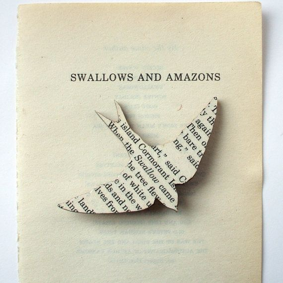Swallows and Amazons  bird brooch Classic book by houseofismay, £8.00  ~~~ <3 this - such a brilliant idea!