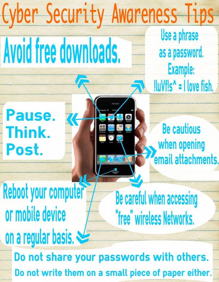Cyber security awareness tips: http://bitsocialmedia.blogspot.com/2013/06/blog-post.html