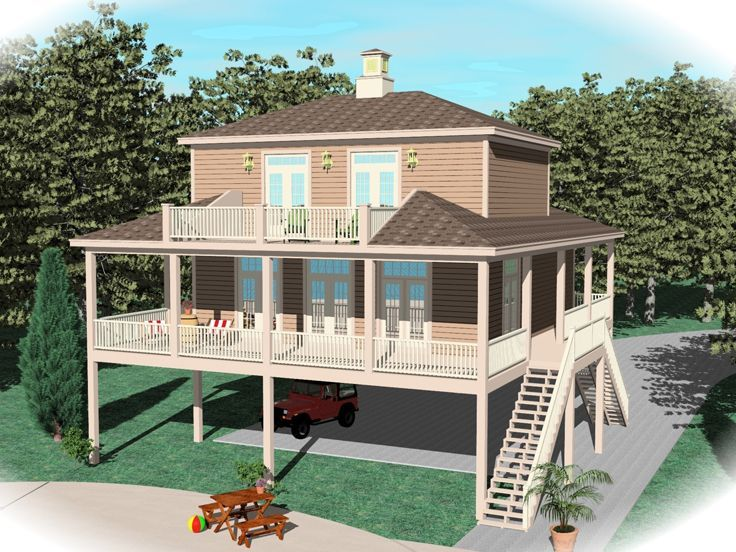 006h 0147 waterfront house plan enjoys plenty of decks - Waterfront House Plans