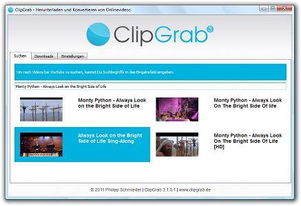ClipGrab : télécharger et convertir des vidéos de YouTube, Dailymotion et autres sites de vidéo en ligne.