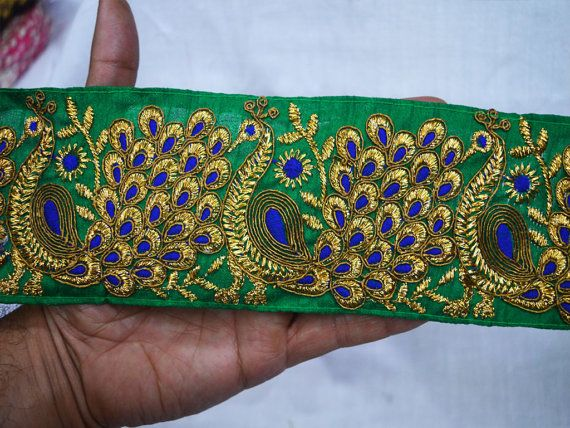 Indian Sari Border Embroidered Green Trims Ribbon fabric trims