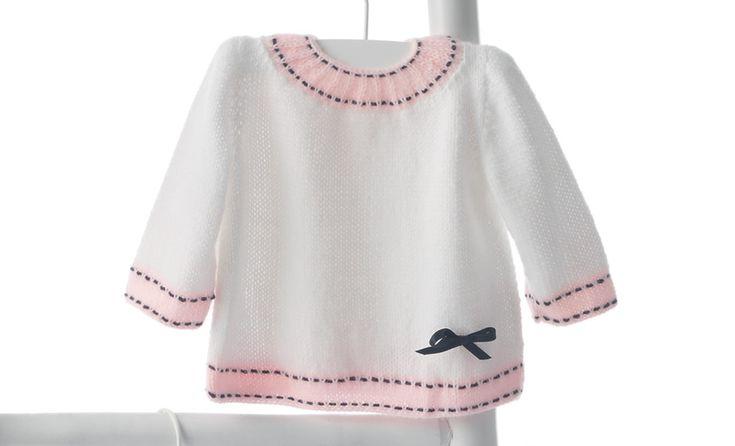 Book Baby 56 Spring / Summer | 21: Baby Sweater | White / Light pink / Dark blue