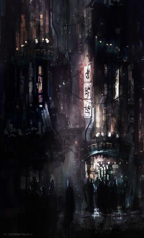 Dark dystopian street scene by Yan Ostretsov #cyberpunk #street #city