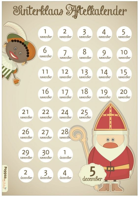Sinterklaas Aftelkalender | Sinterklaas | Poppaa