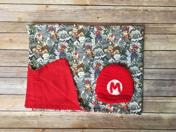 Nintendo baby shower gift set / mario baby shower gift set / mario baby blanket / mario newborn photo prop