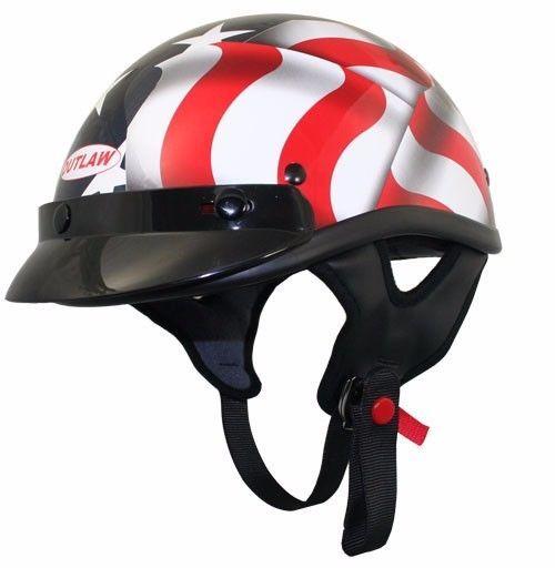 Outlaw T70 American Flag Motorcycle Skull Cap Half Helmet w/ sun visor #Outlaw #Motorcycle
