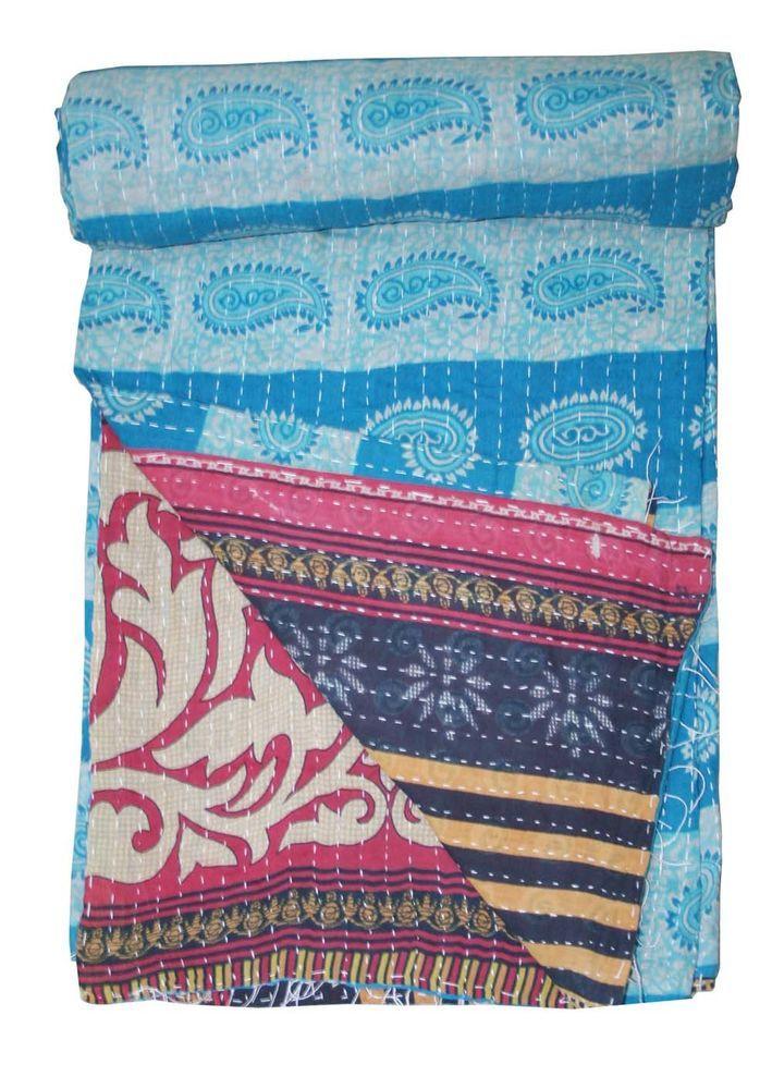 Vintage Kantha Quilt Reversible Bedspread Blanket Bedding Ralli Throw twin  #Unbranded #ArtDecoStyle
