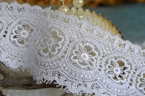 white lace 5.5cm wide floral design trim by TheQuiltedCheese