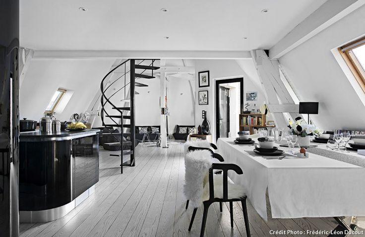 Une cuisine en noir et blanc dans un loft