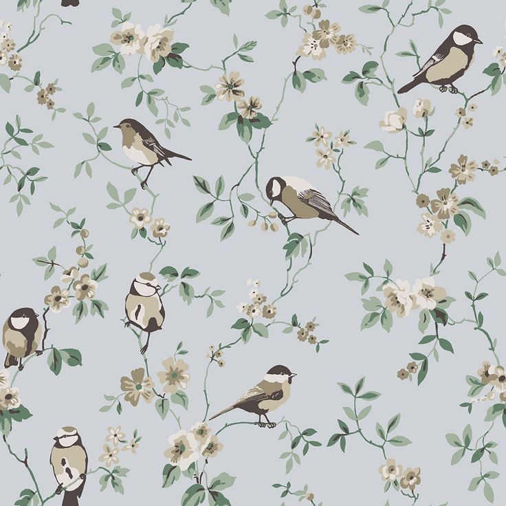 Falsterbo Birds Beige, Green and Blue wallpaper by Boråstapeter