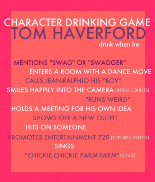 tom haverford drinking game--so doing this with Mike & Meg!
