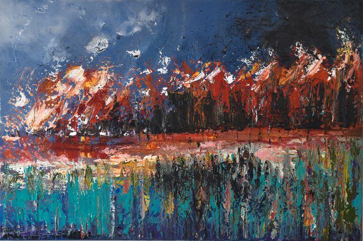 """Black Snow  x 2 of ""Cane Fire"" Series "" by Deborah Christensen. Paintings for Sale. Bluethumb - Online Art Gallery"