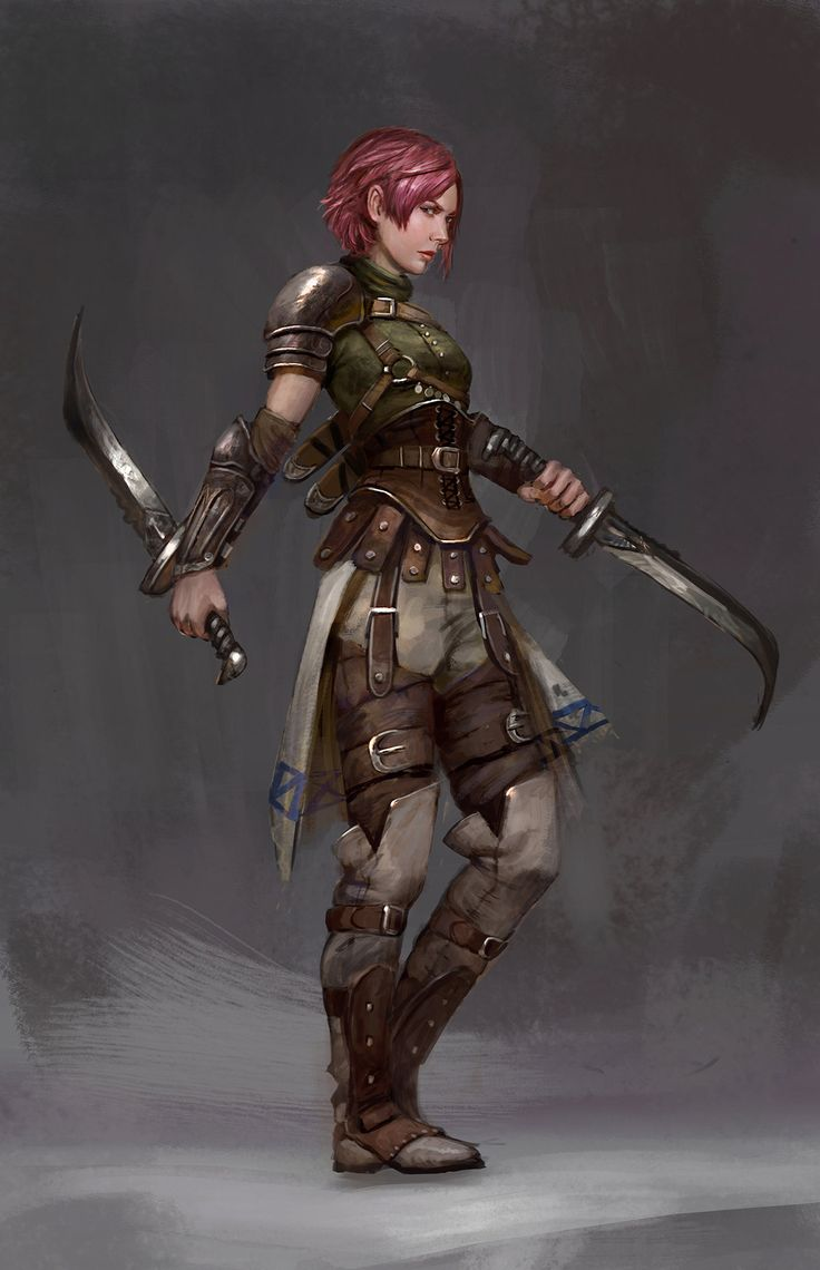 Art by Timothy Kong - Human assassin with curved knives
