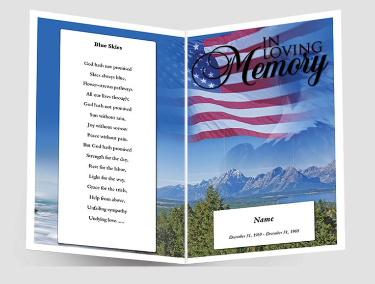 Create funeral program using funeral template. Select Size, Pages and start designing. Add free funeral ornaments, sentiments, funeral poems. You can add unlimited Images and Text.  You can use these best websites: https://www.quickfuneral.com/ or http://www.carddesigner.ca