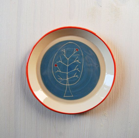 Ceramic plate Heart plate Small pottery plate Ceramic and
