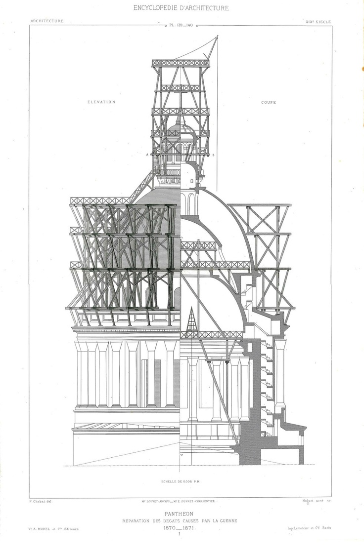 Architect Drawing Paris Pantheon Restoration 1873 Neoclassical Building Decor