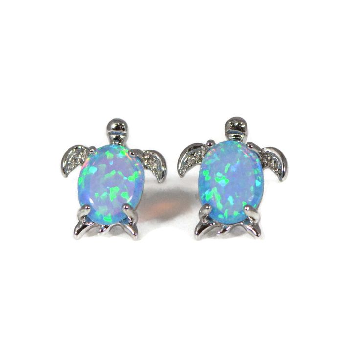 Sterling Silver Created Opal Turtle Post Earrings – Sparkle & Jade