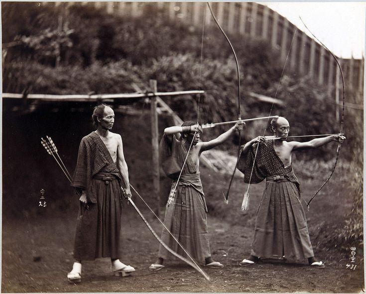 Three archers in 19th century Japan.
