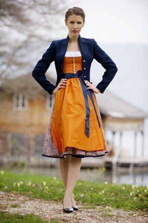 Really like the contrasting bright orange and dark blue in this dirndl