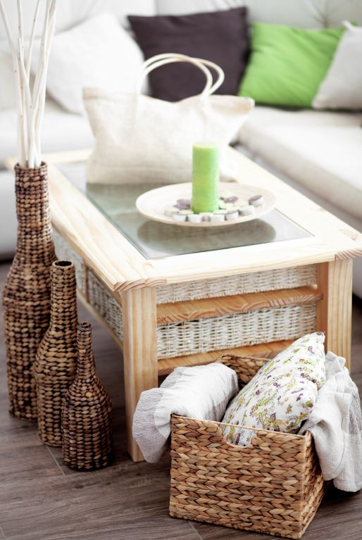 Wicker baskets and textured, woven decor is super on-trend when it comes to keeping your living space casual yet organized. Check out this design inspiration for ideas on how to incorporate it into your home.