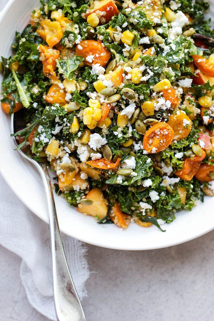 Summer Celebration Kale and Quinoa Salad with Roasted Shallot Vinaigrette