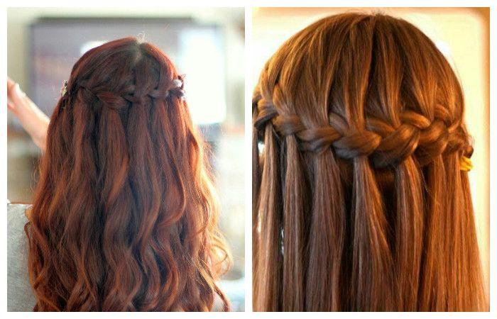 """Прическа """"водопад"""" для длинных волос, фото"""
