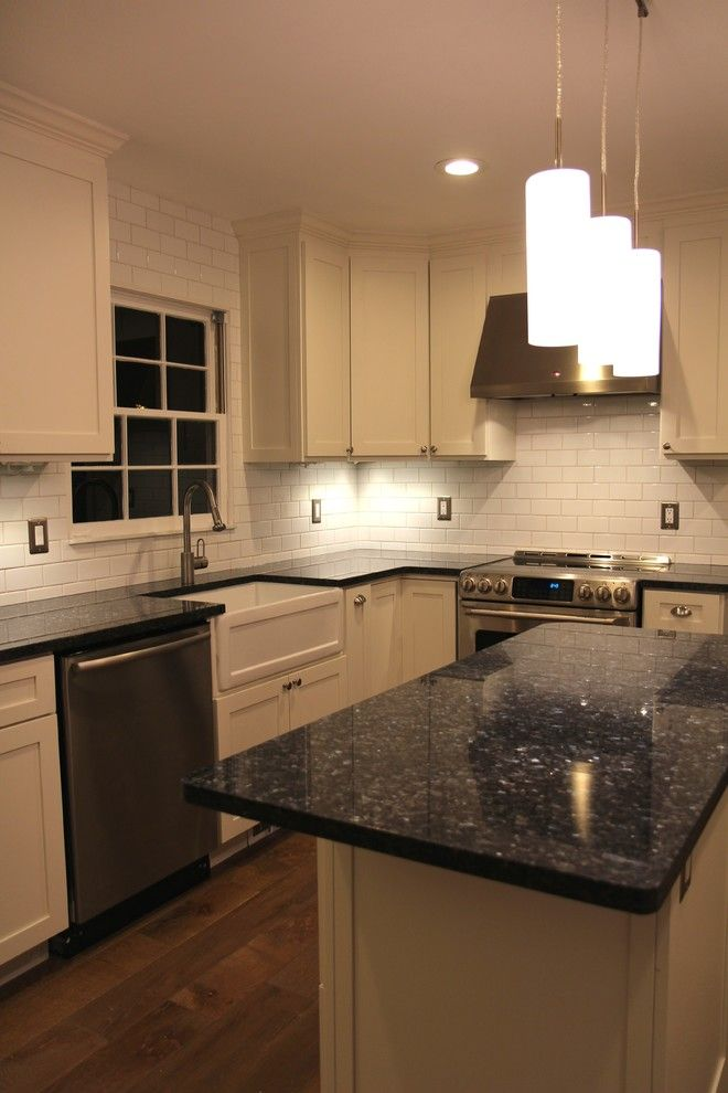 Blue Pearl Granite Countertops Bring Luxury and Beauty to Your Kitchen: Blue Pearl Granite Countertops For Kitchen Remodel And Shaker Style Cabinets Plus Subway Tile Backsplash And Kitchen Island With Pendant Lighting