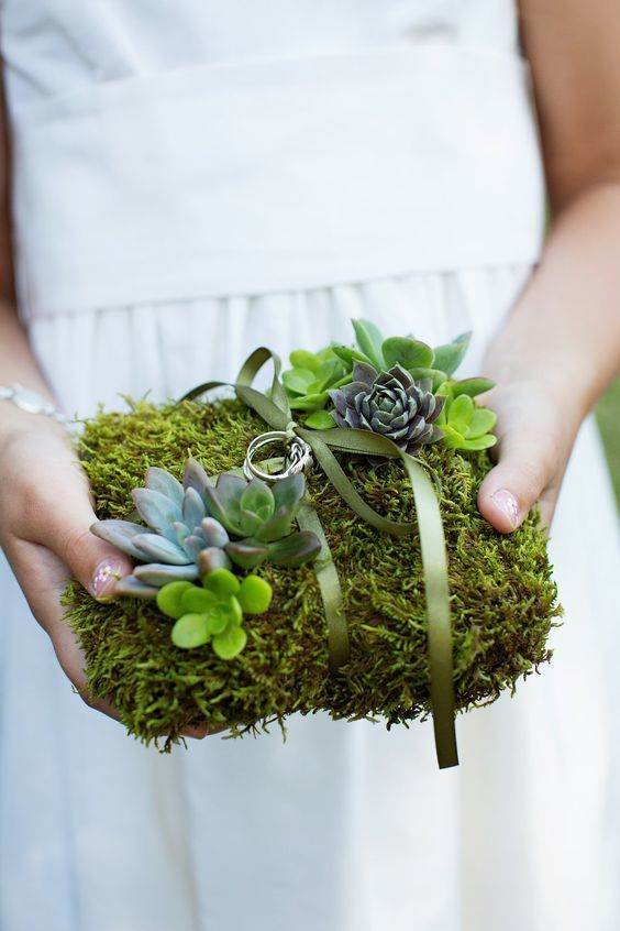 Succulents have been used in wedding bouquets, centerpieces, as favors, and even as motifs for invitations. However, this trendy plant is given another role in this unique ring bearer pillow covered entirely in moss and these little cuties.   11 Fun Ring Bearer Boxes, Pillows, and More
